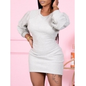 lovely Casual O Neck Hollow-out Grey Mini Dress