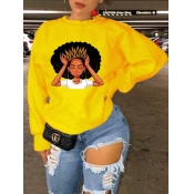 Lovely Leisure O Neck Print Yellow Hoodie