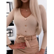 lovely Casual V Neck Buttons Design Apricot Sweate