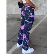 lovely Street Print Purple Jeans