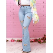 lovely Trendy Butterfly Print Baby Blue Jeans