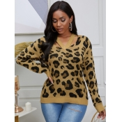 lovely Street V Neck Hollow-out Leopard Print Swea