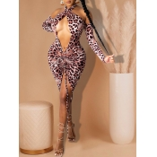 lovely Sexy Leopard Print Hollow-out Pink Knee Len