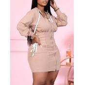 lovely Casual Hooded Collar Zipper Design Khaki Mi