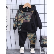 lovely Street Hooded Collar Camo Print Patchwork B