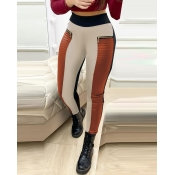 lovely Casual Patchwork Brown Pants