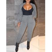 lovely Sportswear Turndown Collar Fold Design Grey
