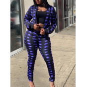 lovely Stylish Print Skinny Blue Two Piece Pants S