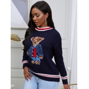 lovely Trendy O Neck Cartoon Print Dark Blue Sweat