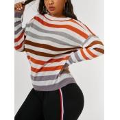 lovely Trendy O Neck Rainbow Striped Grey Plus Siz