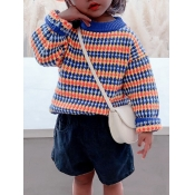 lovely Casual Striped Print Blue Girl Sweater