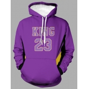 Lovely Casual Hooded Collar Letter Print Purple Me