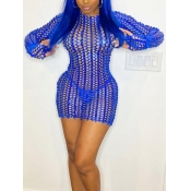 Lovely Sexy O Neck Hollow-out Blue Mini Dress