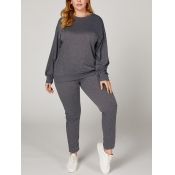 lovely Casual O Neck Puffed Sleeve Grey Two Piece