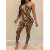 lovely Sexy One Shoulder Leopard Print Hollow-out