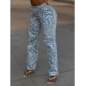 lovely Casual Striped Print Blue Jeans