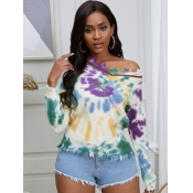 lovely Trendy V Neck Tie-dye Multicolor Sweater