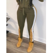 lovely Casual Patchwork Skinny Army Green Pants