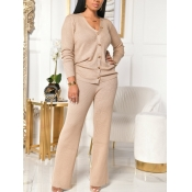 lovely Casual V Neck Long Sleeve Apricot Two Piece