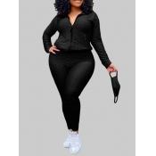 Lovely Casual Turndown Collar Zipper Design Black Plus Size Two-piece Pants Set