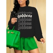 lovely Casual O Neck Letter Print Black Hoodie
