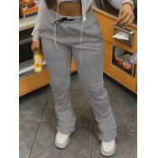 lovely Casual Fold Design Grey Pants