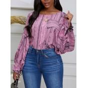 lovely Trendy O Neck Print Pink Blouse