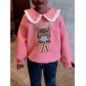 lovely Street Turndown Collar Cartoon Print Pink G