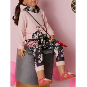 lovely Casual Hooded Collar Plants Print Pink Girl