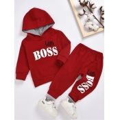 Lovely Sportswear Hooded Collar Letter Print Wine Red Boy Two-piece Pants Set