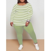 lovely Casual Boat Neck Long Sleeve Striped Green