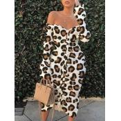 Lovely Street Off The Shoulder Leopard Print Mid Calf A Line Dress
