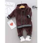 Lovely Sportswear Hooded Collar Patchwork Dull Red