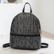 Lovely Casual Letter Print Black Backpack
