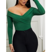 lovely Casual Off The Shoulder Skinny Green Bodysu