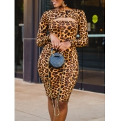 Lovely Sexy Leopard Print Hollow-out Knee Length Dress