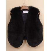 lovely Stylish V Neck Black Faux Fur