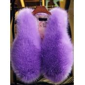 Lovely Stylish V Neck Purple Faux Fur