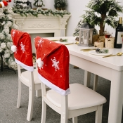 lovely Christmas Print Patchwork Red Chair Covers
