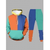 Lovely Casual Hooded Collar Color-lump Patchwork Multicolor Men Two-piece Pants Set