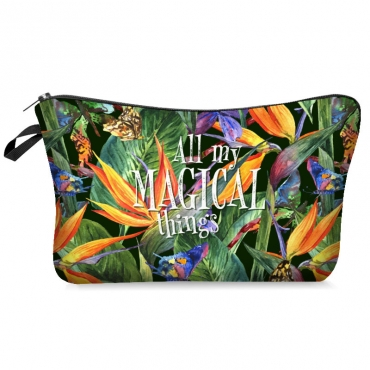 Lovely Stylish Plants Print Green Makeup Bag