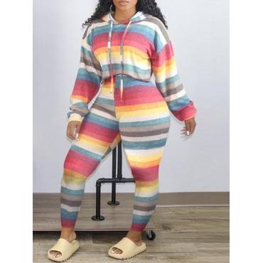 Lovely Stylish Hooded Collar Rainbow Striped Multi