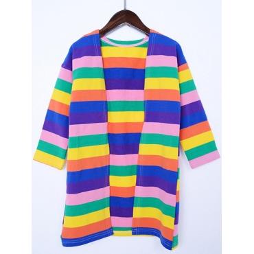 Lovely Casual Rainbow Striped Multicolor Girl Card