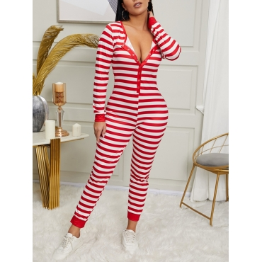 Lovely Leisure Striped Red One-piece Jumpsuit