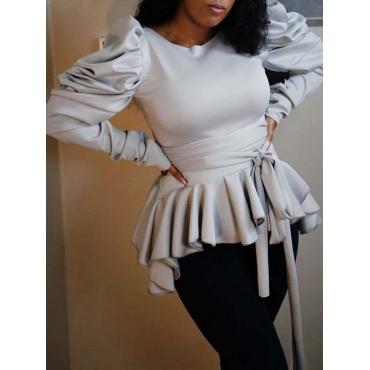 Lovely Trendy O Neck Flounce Fold Design Grey Blou