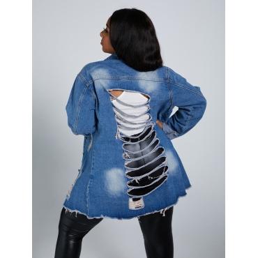 LW Plus Size Stylish Turndown Collar Broken Holes Blue Denim Jacket