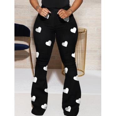 Lovely Trendy Heart Print Black Pants