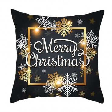 Lovely Christmas Day Print Black Decorative Pillow