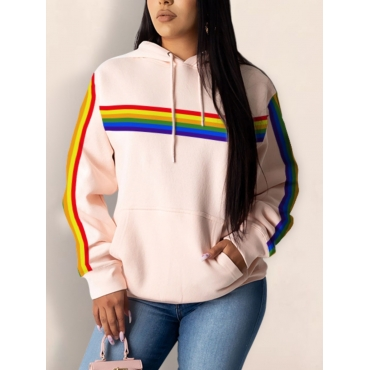 Lovely Casual Hooded Collar Rainbow Striped Light