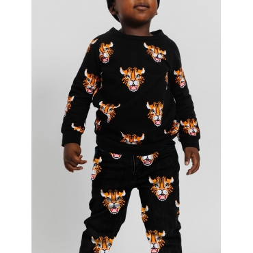 Lovely Casual O Neck Print Black Boy Two-piece Pan